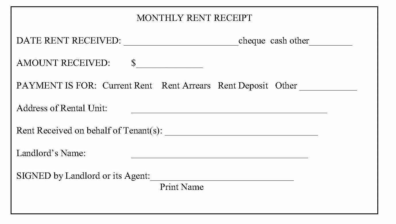 rent receipts what is required from
