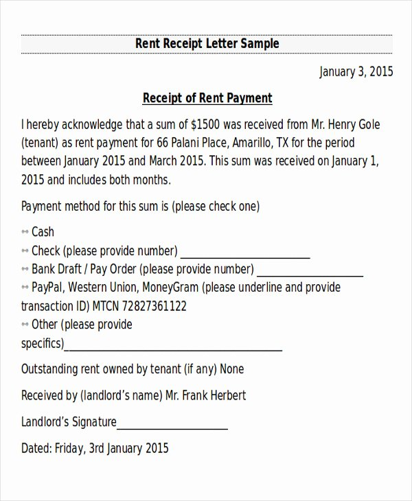 Proof Of Rent Payment Letter Luxury 10 Receipt Of Payment Letters Pdf Doc Apple Pages