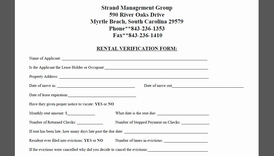 Proof Of Rent Payment Lovely Printable Sample Rental Verification form form
