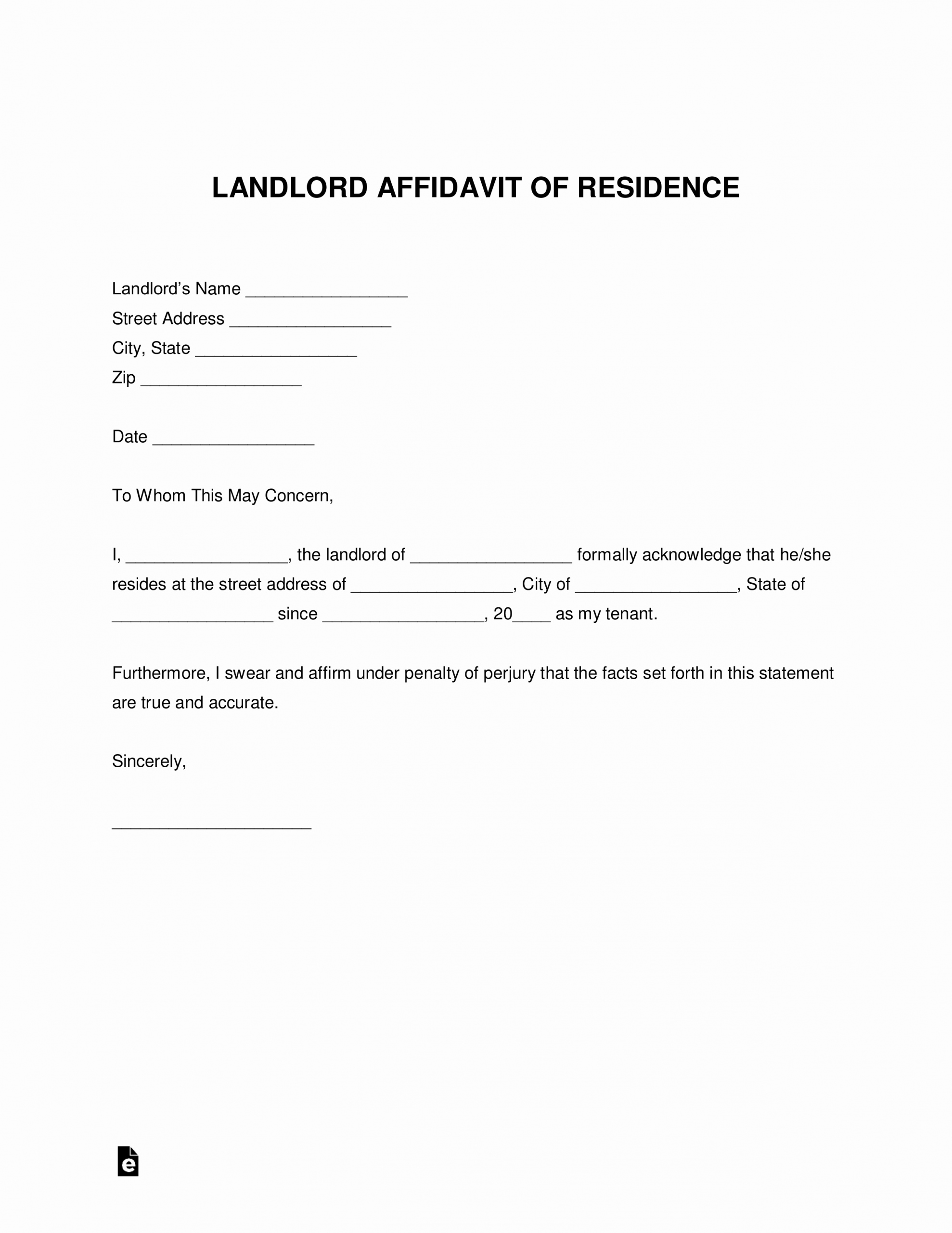Proof Of Rent Payment New Free Landlord Proof Of Residency Letter Pdf