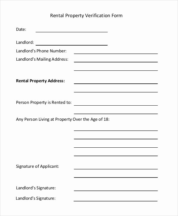 Proof Of Rental History Letter Fresh Sample Rental Verification form 10 Examples In Pdf Word
