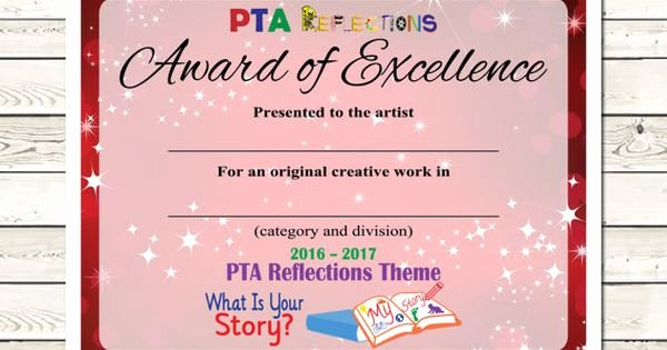 Pta Reflections Certificate Template Awesome Pta Reflections Certificate 2016 2017 Digital Printable