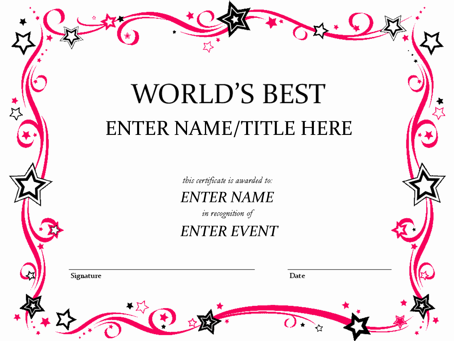 Pta Reflections Certificate Template Elegant Free Funny Award Certificates Templates