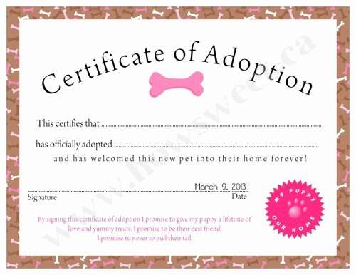 Puppy Adoption Certificate Template Awesome Puppy Adoption Certificate Pink or Blue