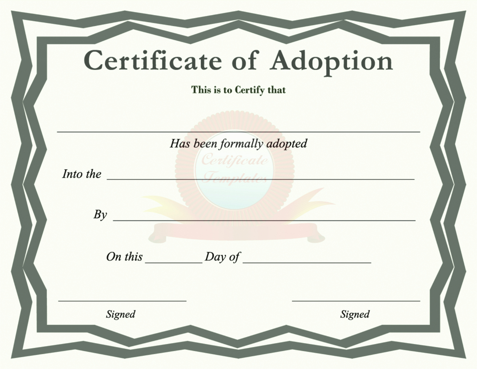 Puppy Adoption Certificate Template Beautiful Free Certificate Of Adoption Pdf 5105kb