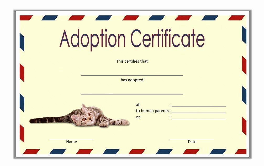 Puppy Adoption Certificate Template Beautiful Pet Adoption Certificate Editable Templates