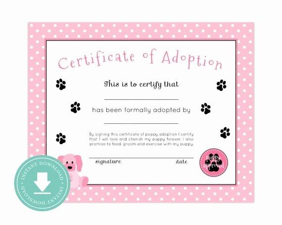 Puppy Adoption Certificate Template Fresh Instant Download Puppy Adoption Certificate Puppy Birthday