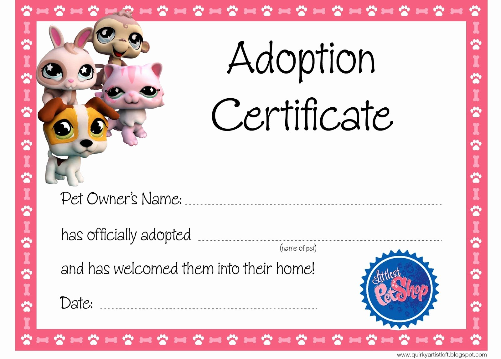 Puppy Adoption Certificate Template Fresh Quirky Artist Loft Littlest Pet Shop Party Free
