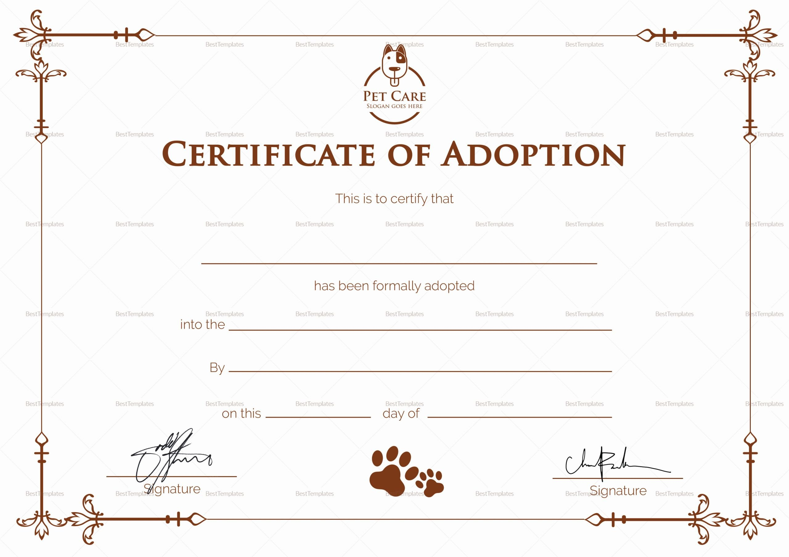 Puppy Adoption Certificate Template Luxury Simple Adoption Certificate Design Template In Psd Word