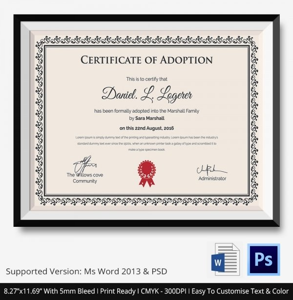 Puppy Adoption Certificate Template New Adoption Certificate Template 12 Free Pdf Psd format