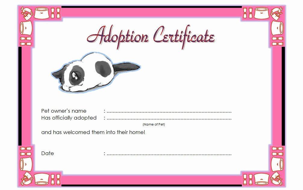 Puppy Adoption Certificate Template New Pet Adoption Certificate Template 10 Best Ideas