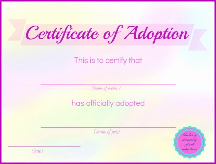 Puppy Adoption Certificate Template New these Stuffed Animal Adoption Certificates are Available