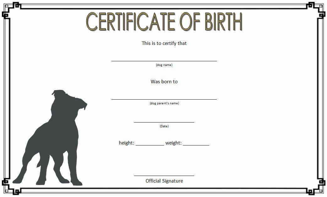 Puppy Birth Certificate Template Lovely Puppy Birth Certificate Template 10 Special Editions