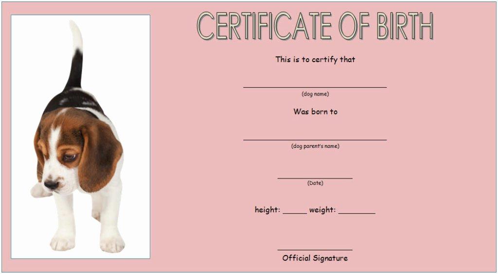 Puppy Birth Certificate Template Unique Dog Birth Certificate Template Editable [9 Designs Free]