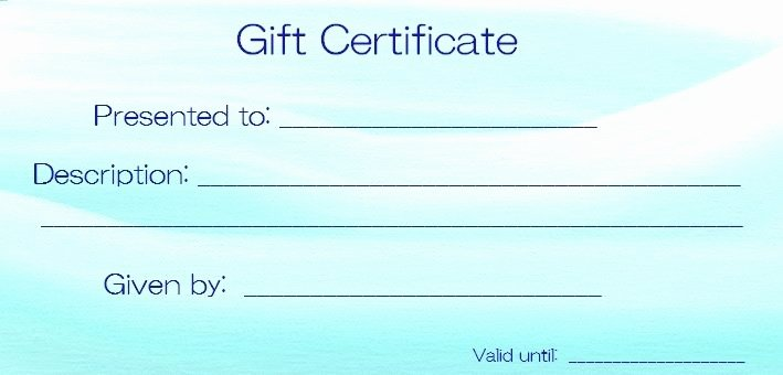Pure Romance Gift Certificate Template Fresh Blank Templates for Gift Certificates