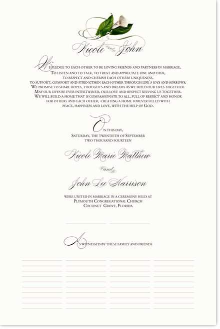 Quaker Wedding Certificate Template Beautiful Calla Lily Swirl Marriage Certificate with Custom Wedding
