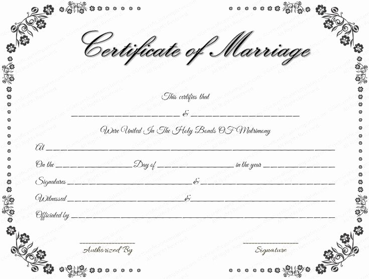 Quaker Wedding Certificate Template Beautiful Vintage Flowers Marriage Certificate Template