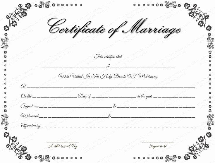 Quaker Wedding Certificate Template Beautiful Vintage Flowers Marriage Certificate Template