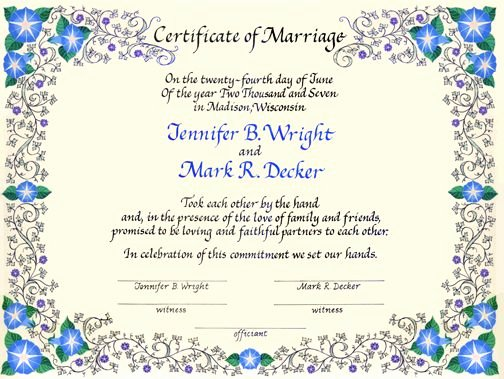 Quaker Wedding Certificate Template Best Of Wedding Certificate with Morning Glories and Me Val Ivy