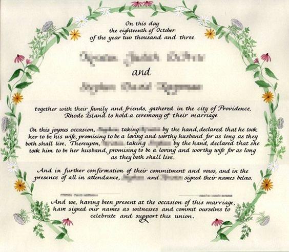 Quaker Wedding Certificate Template Elegant Blank Marriage Certificate Template