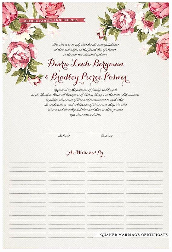 Quaker Wedding Certificate Template Luxury Wedding Certificate Quaker Marriage by Jenniferraichman On