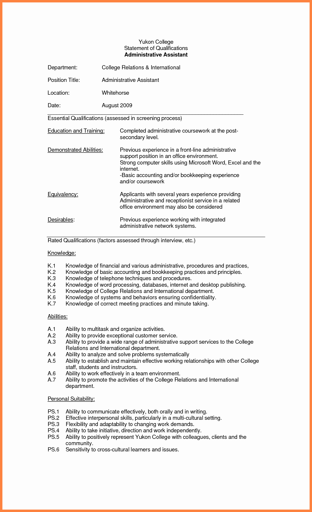 Qualification Statement Sample Inspirational 10 Statement Of Qualification