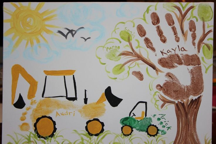 Quick as A Cricket Printables Best Of Backhoe & Gator Footprints Handprint Tree and Finger