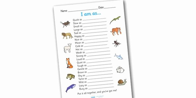 Quick as A Cricket Printables Best Of Simile Worksheet Similies Simile Similies Worksheet