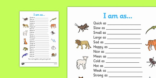 Quick as A Cricket Printables New Simile Worksheet Similies Simile Similies Worksheet Quick