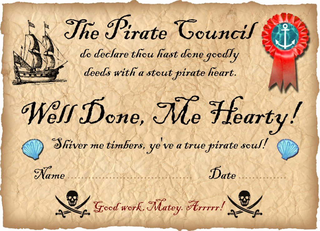 Raingutter Regatta Certificate Template Lovely Pirate Certificate Well Done Rooftop Post Printables