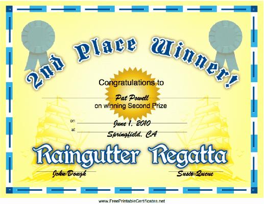 Raingutter Regatta Certificate Template New Raingutter Regatta 2nd Place Printable Certificate
