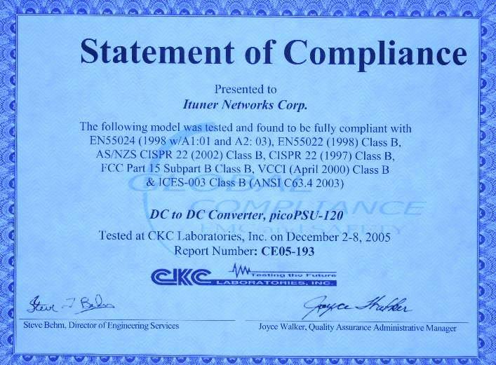 Reach Certificate Of Compliance Template Elegant Picopsu 120 12v Dc Dc atx Power Supply