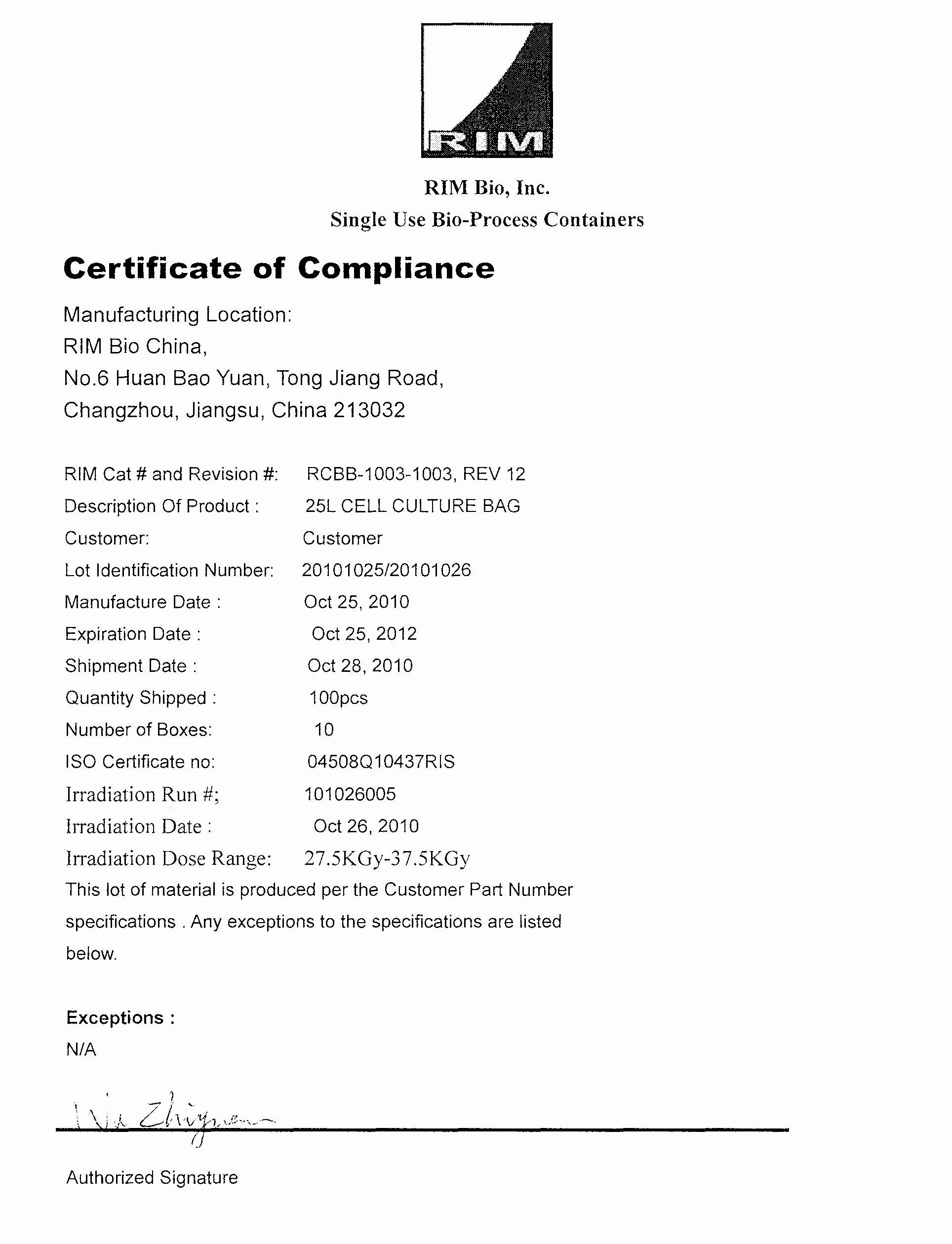 Reach Certificate Of Compliance Template Luxury Certificate Of Pliance & Lot Traceability