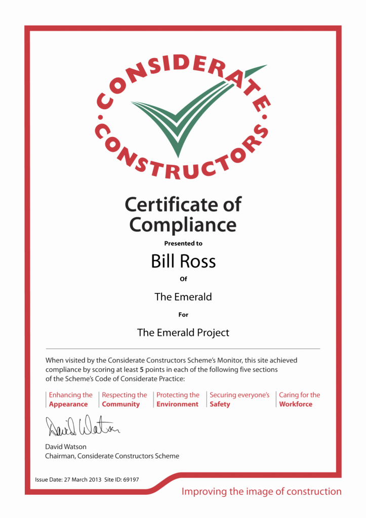 Reach Certificate Of Compliance Template New Considerate Contractors 2013 Awards