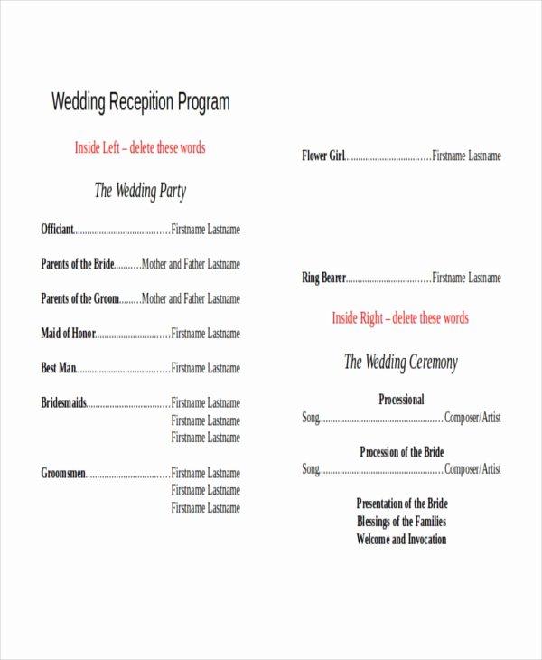 Reception Program Template Awesome 10 Wedding Program Templates Free Sample Example