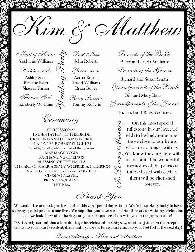 Reception Program Template Awesome 35 Best Printable Wedding Programs Images On Pinterest