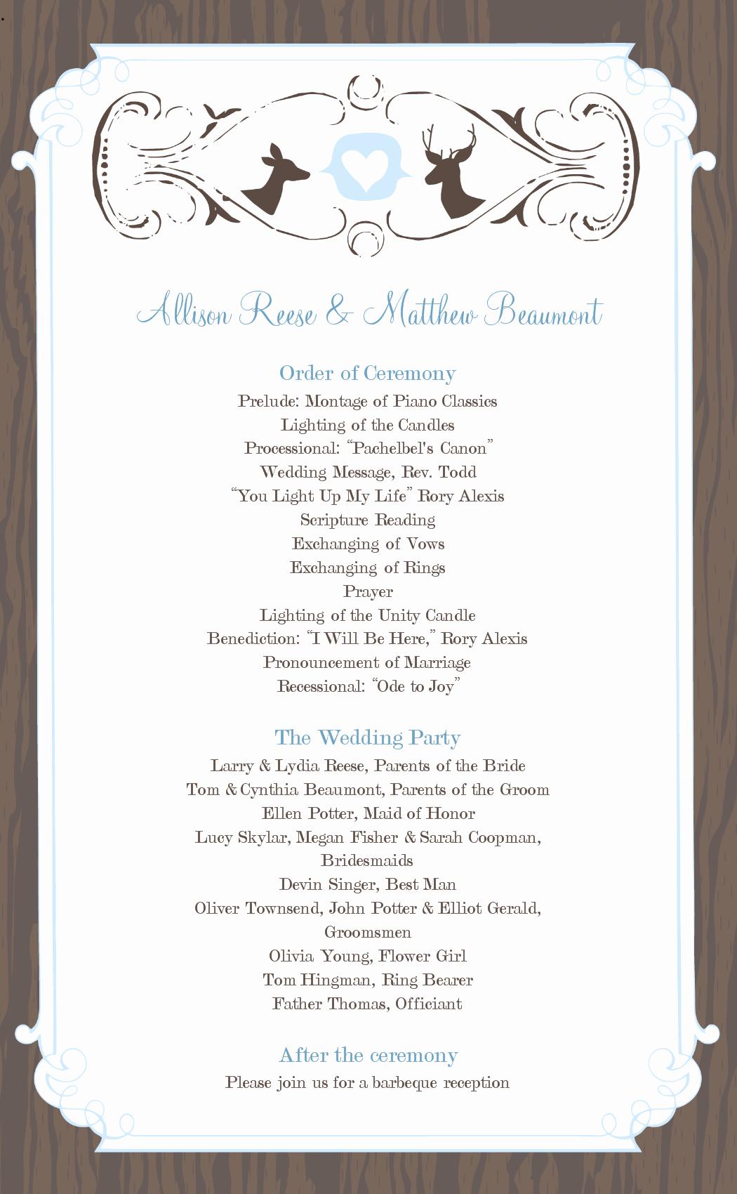 Reception Program Template Awesome Wedding Program Templates Free