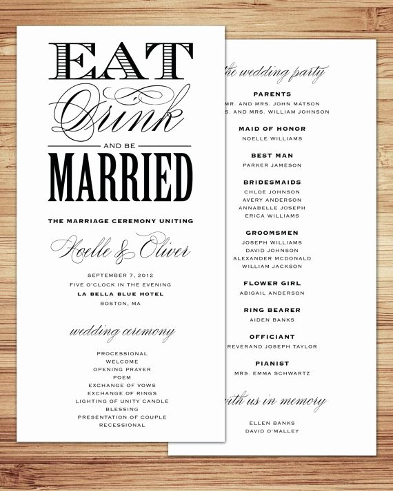 Reception Program Template Inspirational Be Married Wedding Program by Fineanddandypaperie On Etsy