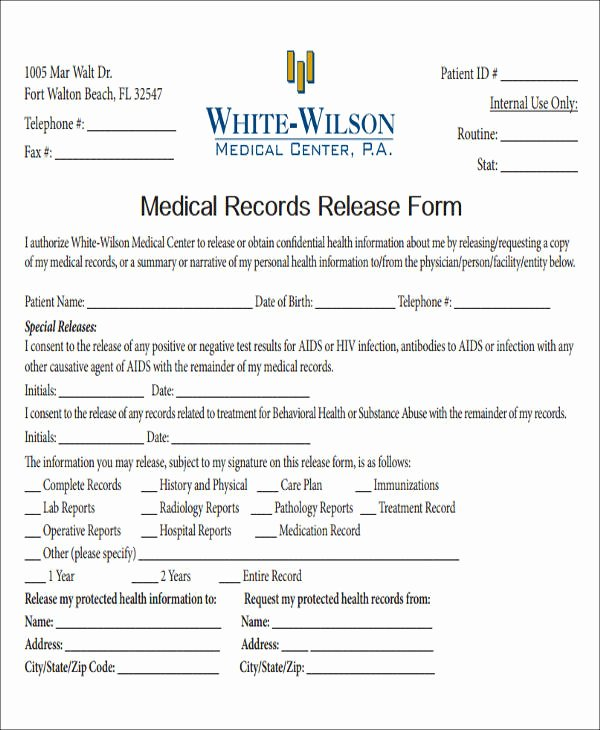 Record Release forms Awesome Release Medical Information form Sample 9 Examples