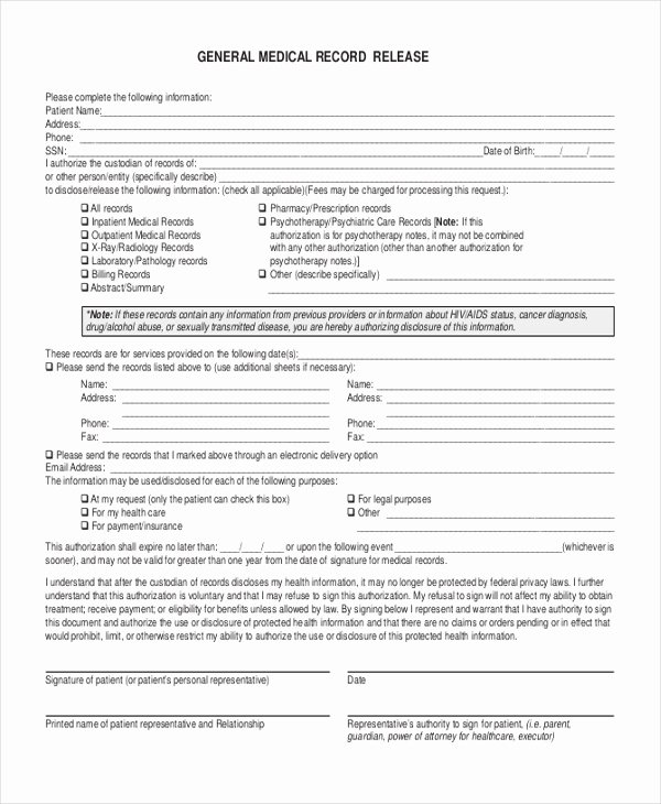 Record Release forms Beautiful Free 11 Sample Release forms In Pdf