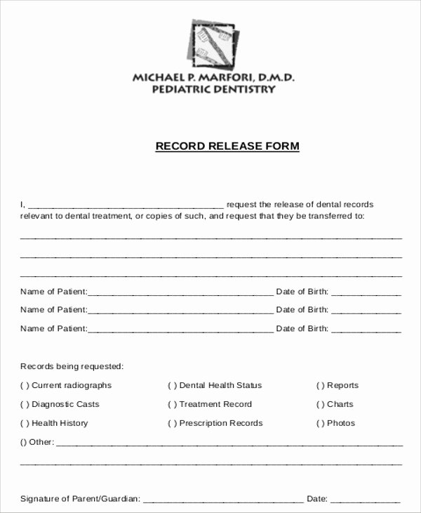 Record Release forms Elegant Sample Dental Records Release form 8 Examples In Word Pdf