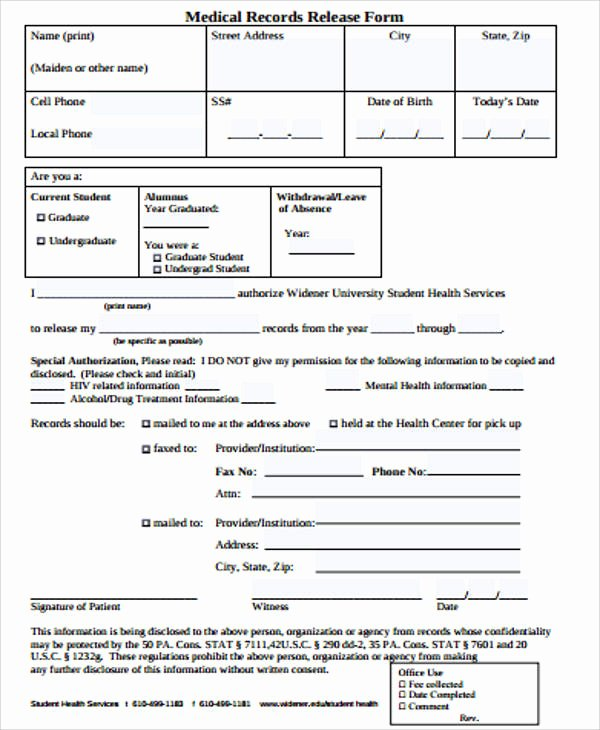 Record Release forms Fresh Sample Records Release form 9 Examples In Word Pdf