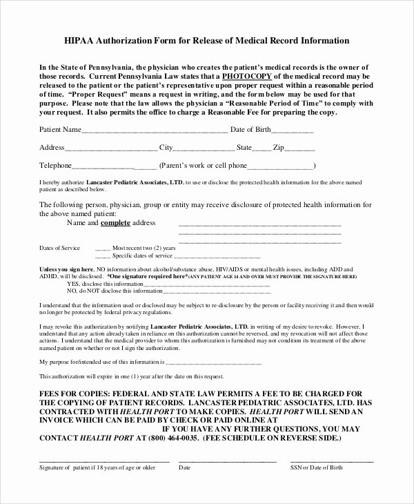 Record Release forms Inspirational Sample Medical Records Release form 9 Examples In Pdf Word