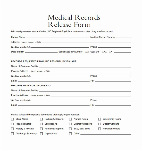 Record Release forms Lovely Medical Record Release form