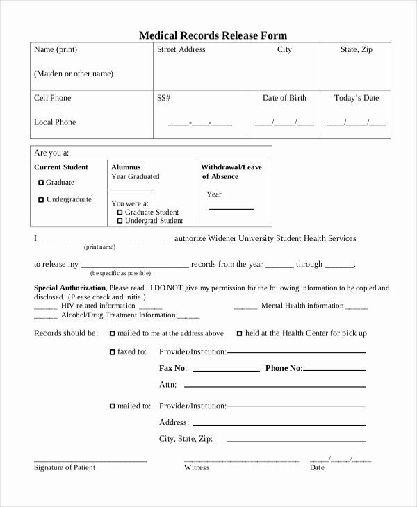 Record Release forms Luxury Free 10 Sample Medical Records Release forms