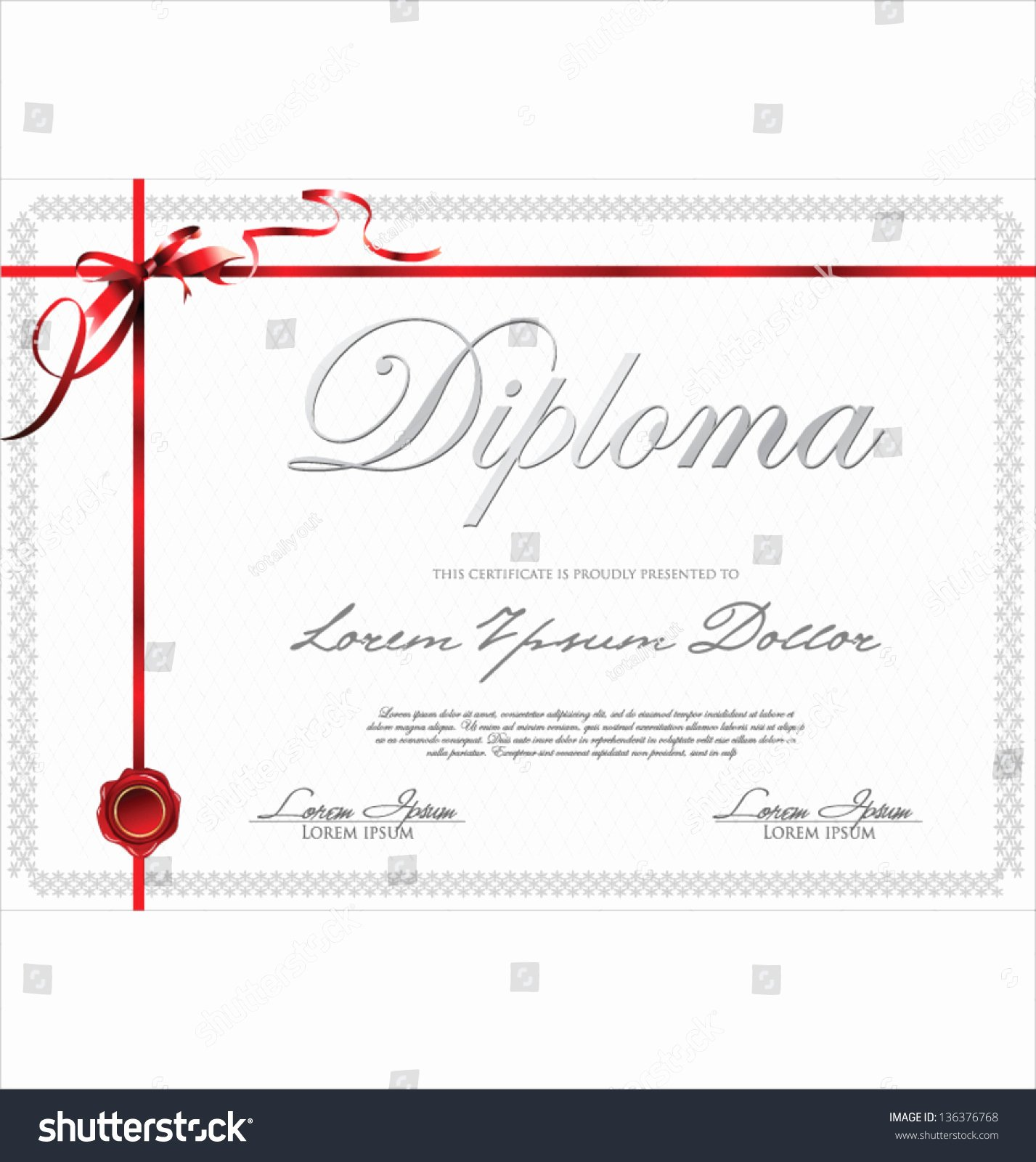 Red Ribbon Week Certificate Template Beautiful Certificate Template with Red Ribbon Stock Vector