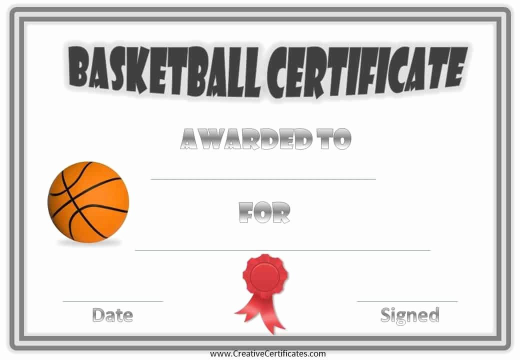 Red Ribbon Week Certificate Template Inspirational Free Basketball Certificate Templates