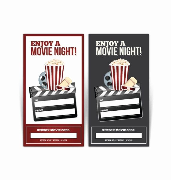 Redbox Gift Certificate Template Beautiful Redbox Gift Card Tag Printable Popcorn Red Black