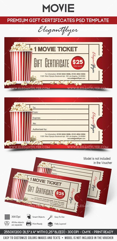 Redbox Gift Certificate Template Best Of Movie Gift Certificate Psd Printable – by Elegantflyer