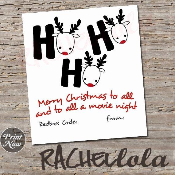Redbox Gift Certificate Template Lovely Christmas Redbox Code Ho Ho Ho Teacher Movie Night T